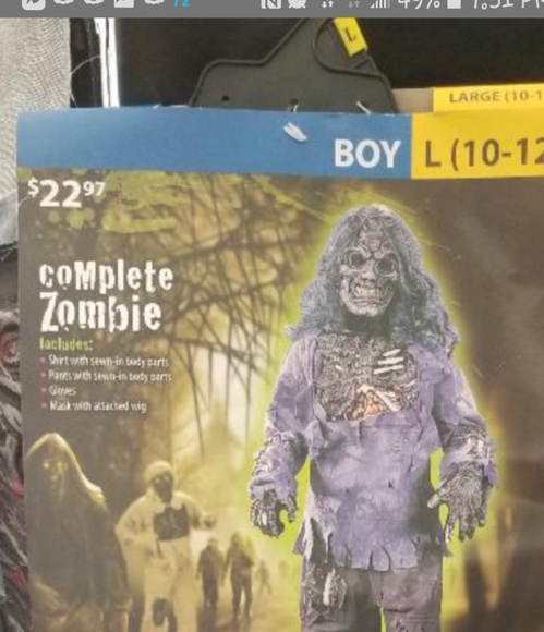 Fortner Frenzy Other - NWT zombie HALLOWEEN COSTUME